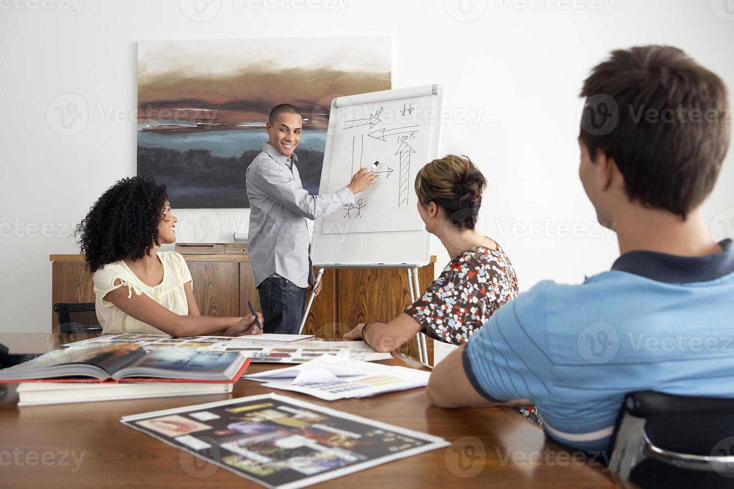 zakenman presentatie geeft aan collega's foto