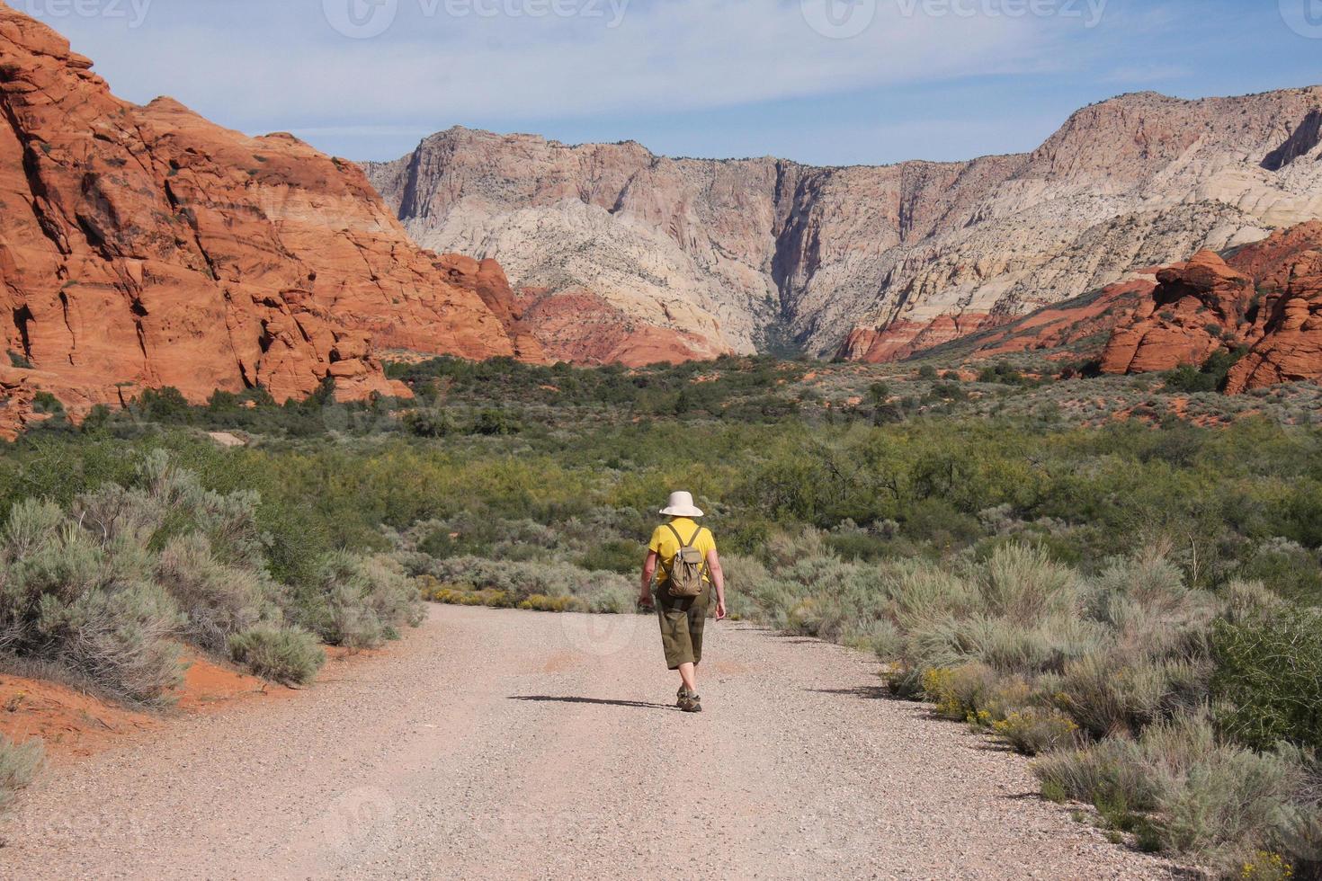 vrouw wandelen in de sneeuw canyon, utah foto