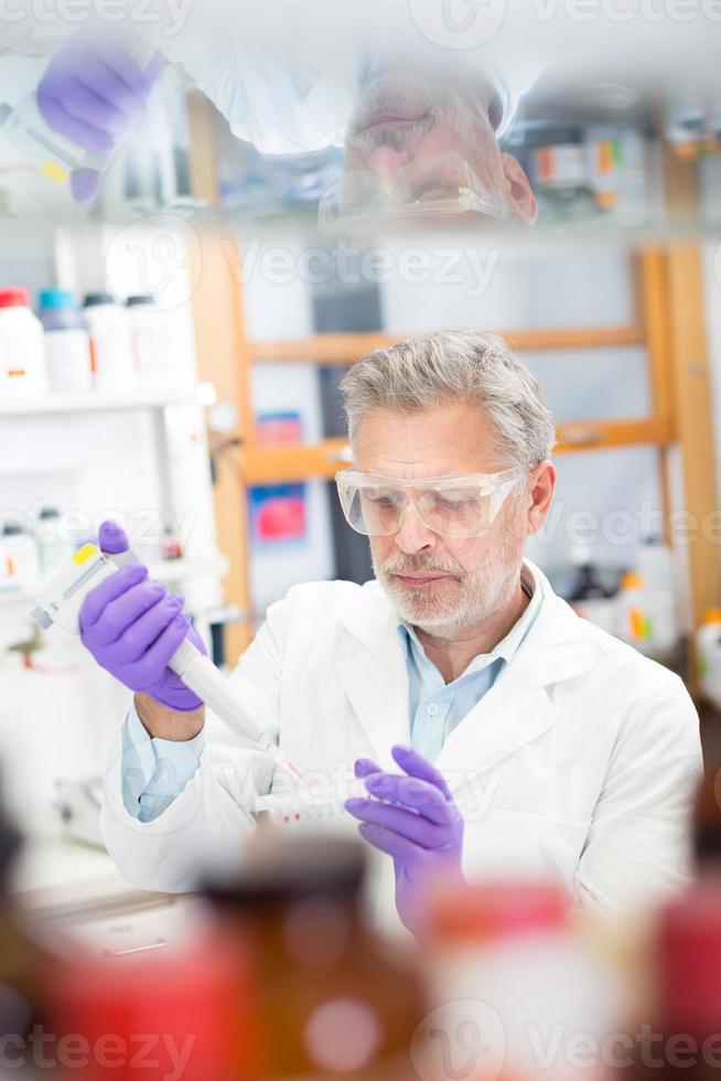 levenswetenschapper die in het laboratorium onderzoekt. foto