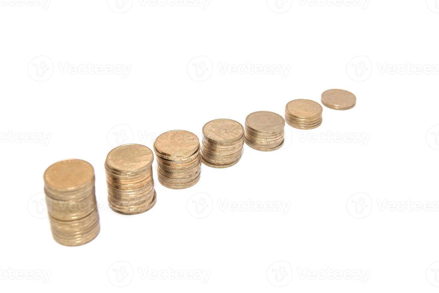grafiek met munteenheid toont succes en groei in het bedrijfsleven foto