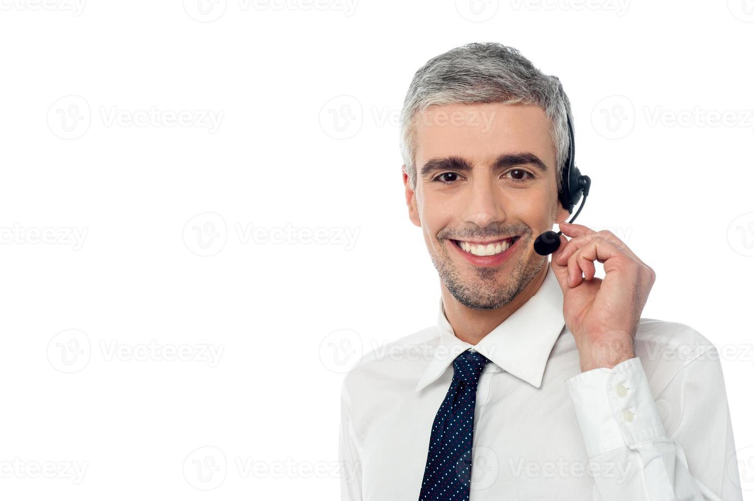 lachende klantenondersteuningsmedewerker foto