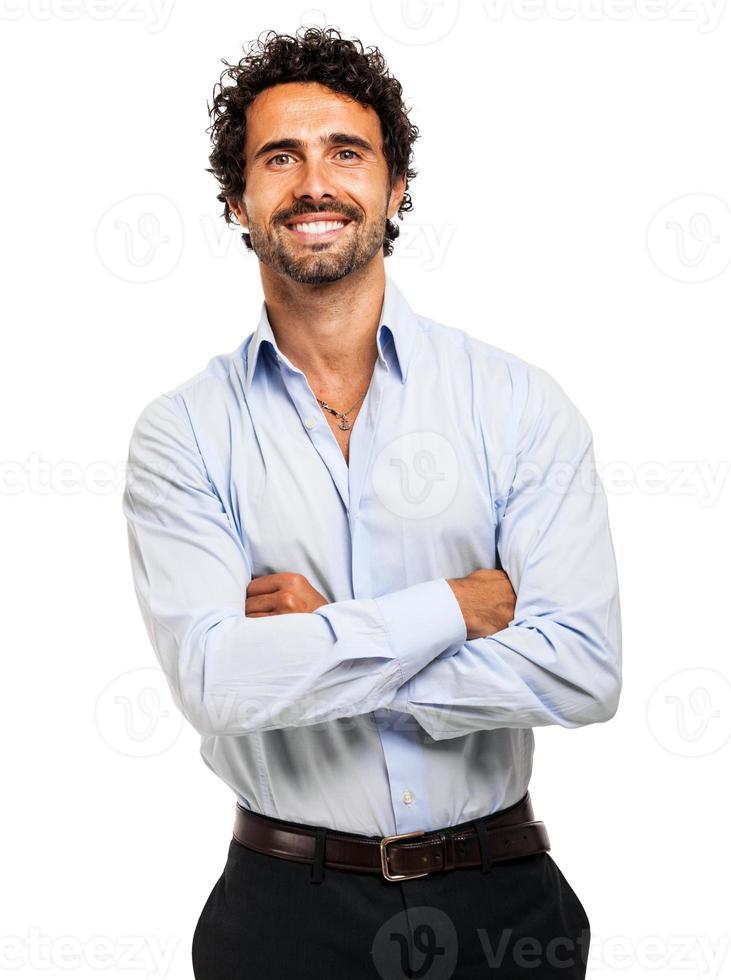 lachende zakenman portret op witte achtergrond foto
