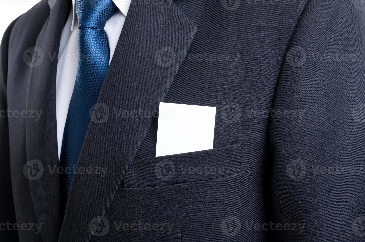 blanco visitekaartje in zakenman jas jaszak foto