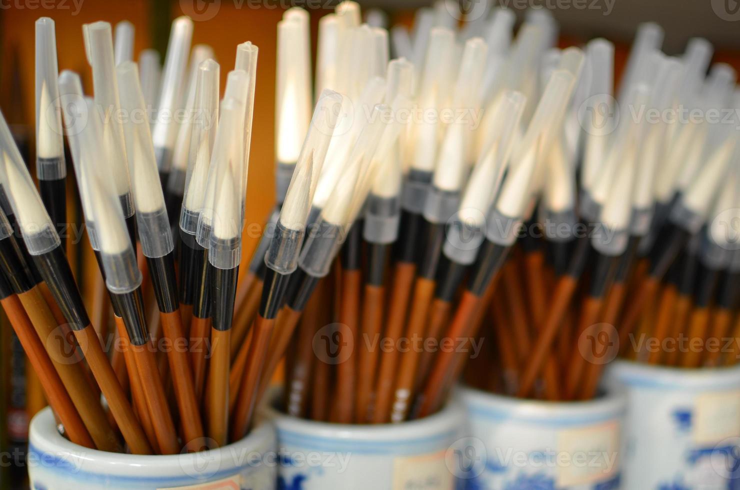 Chinese kalligrafie schilderborstels foto