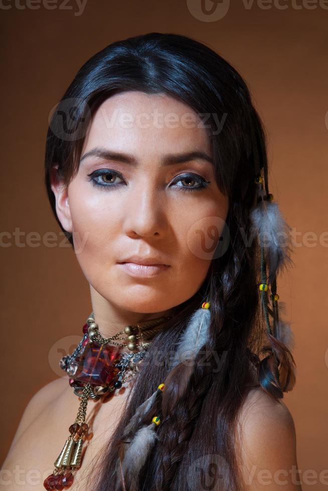 portret van Indiaanse vrouw foto
