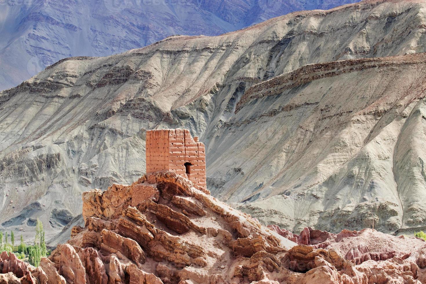 ruïnes, Basgo klooster, Leh Ladakh, Jammu en Kasjmir, India foto