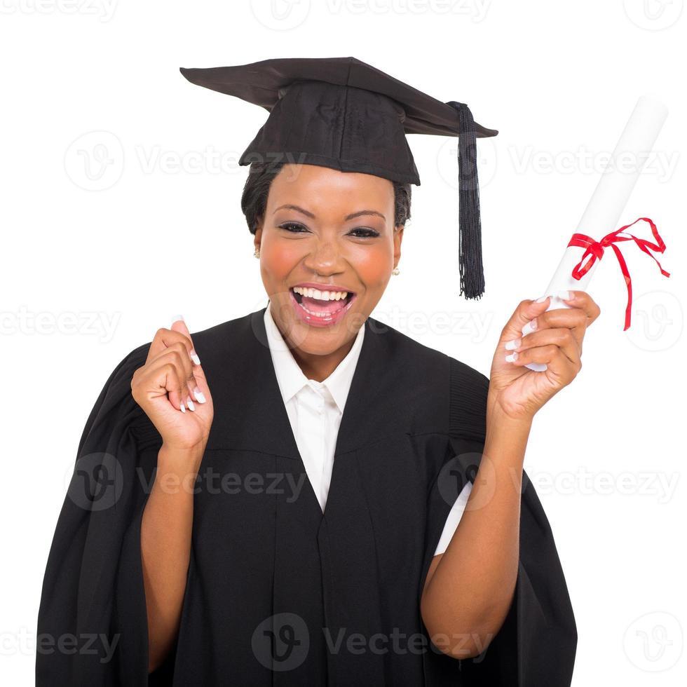 Afro-Amerikaanse afgestudeerde student foto