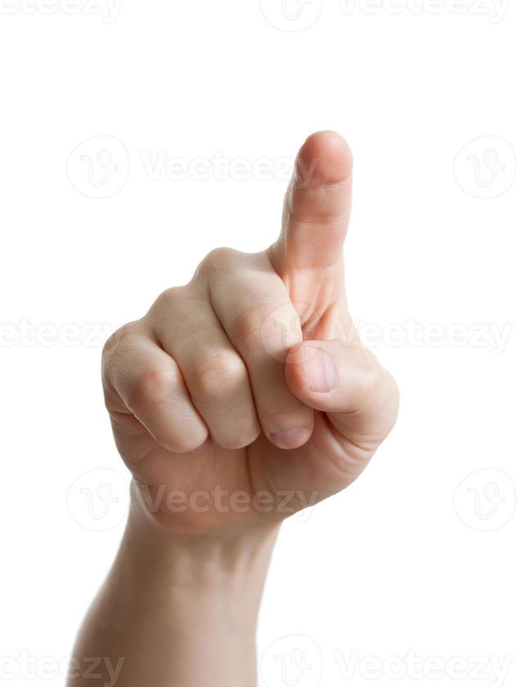 hand wijzen, aanraken of drukken op wit. Kaukasisch mannetje foto