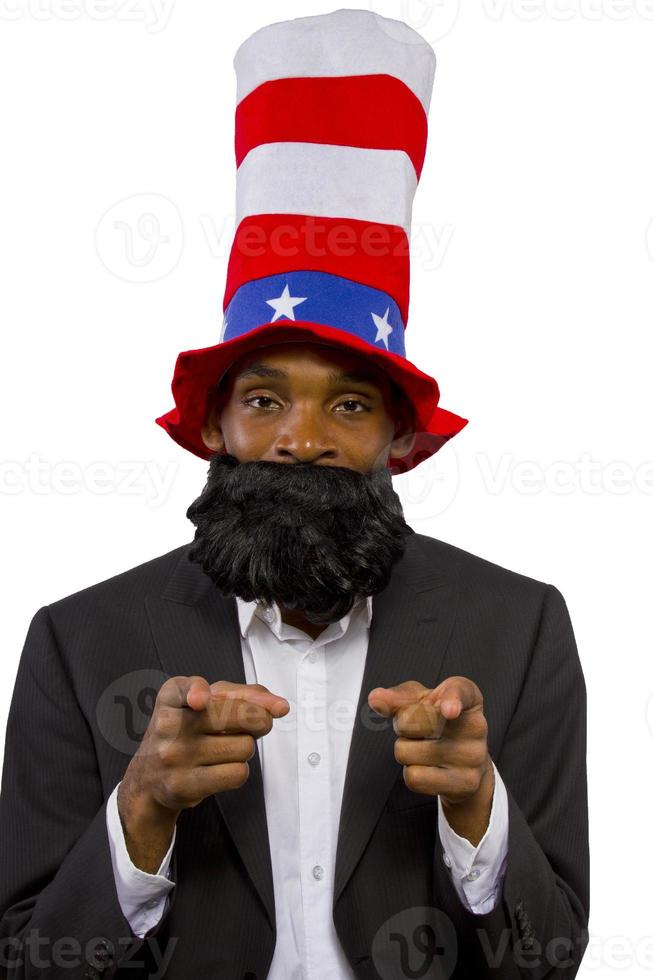 zwarte Afro-Amerikaanse man verkleed als oom sam foto