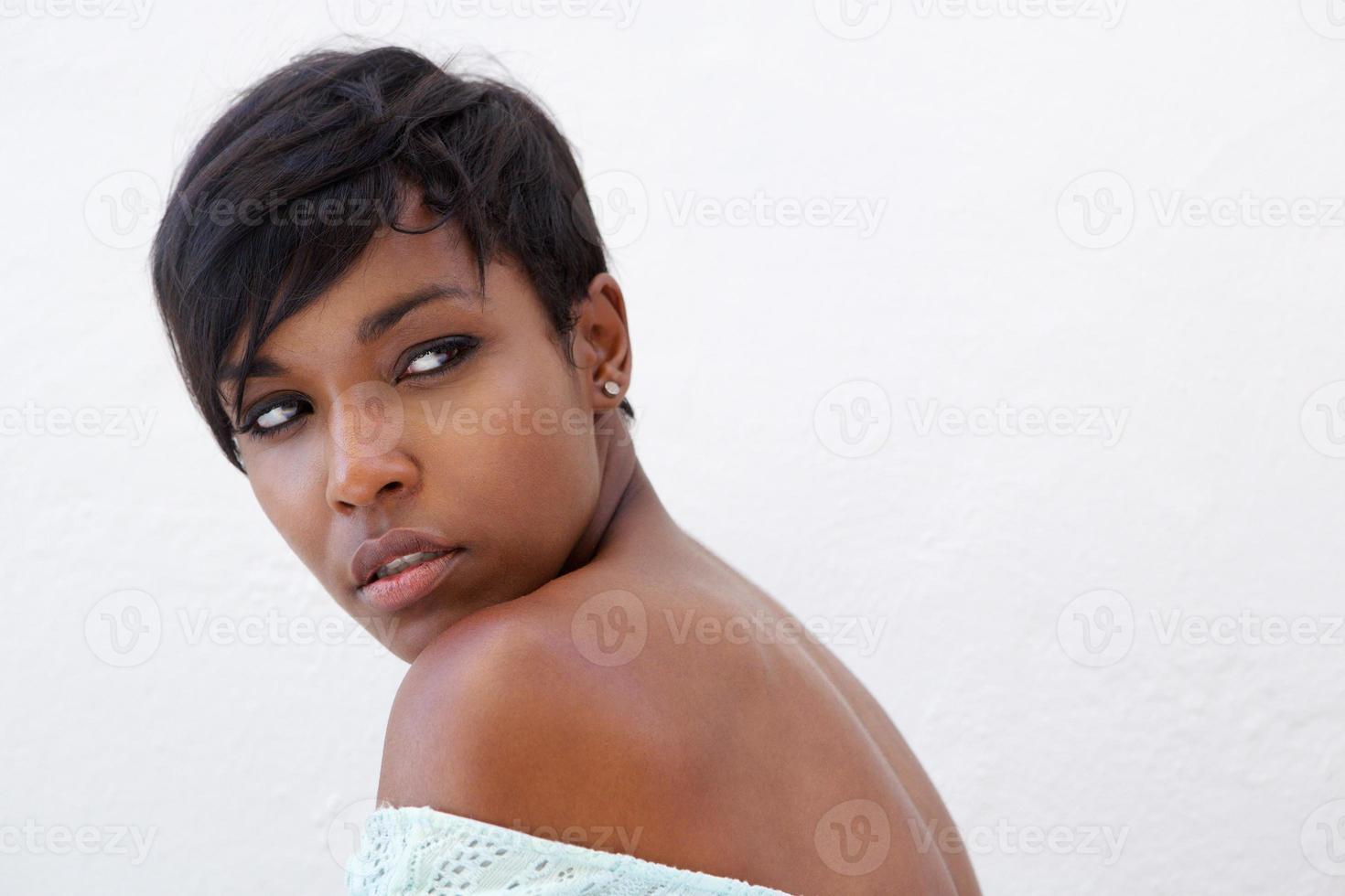 close-up elegante Afro-Amerikaanse vrouw foto