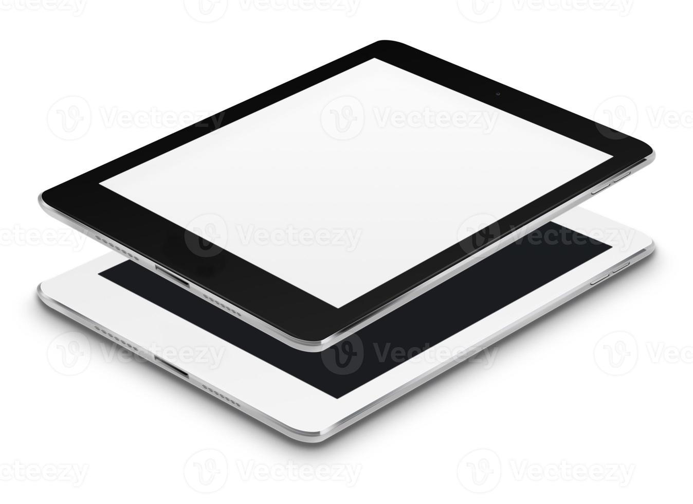 realistische tabletcomputers met zwarte en lege schermen. foto