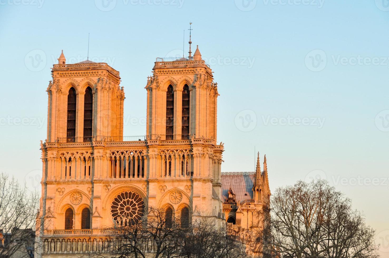 Notre-Dame de Paris kathedraal bij zonsondergang foto