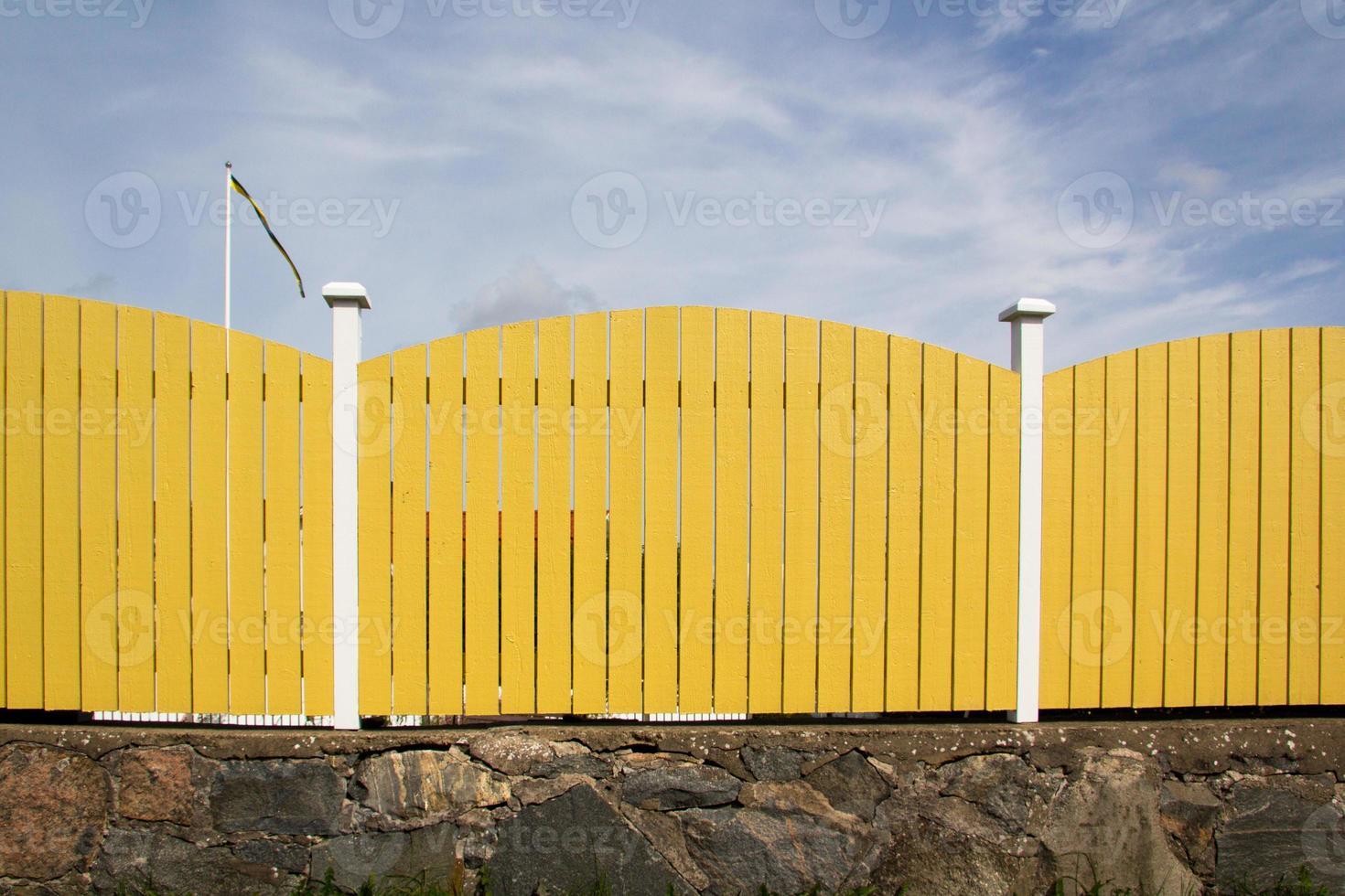 Zweedse planken hek foto