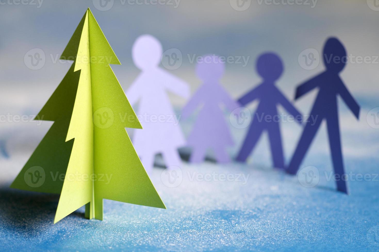 kerstpapier boom en familie foto