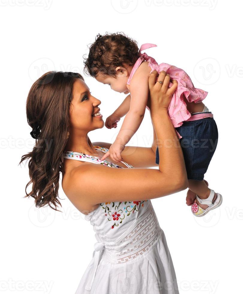 Spaanse moeder en dochter foto