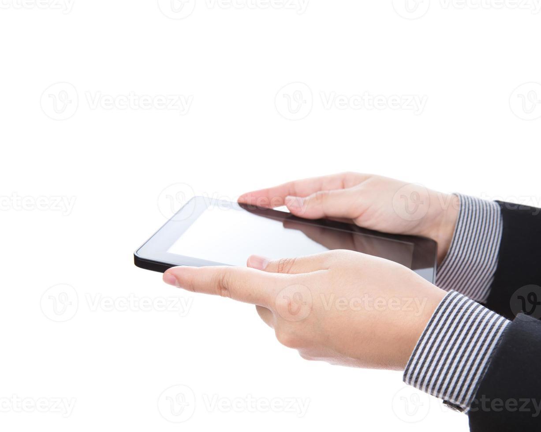zakenman met behulp van een touchscreen-apparaat foto