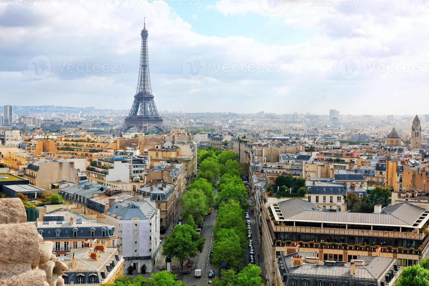 zicht op Parijs vanaf de Arc de Triomphe. .Parijs. Frankrijk. foto
