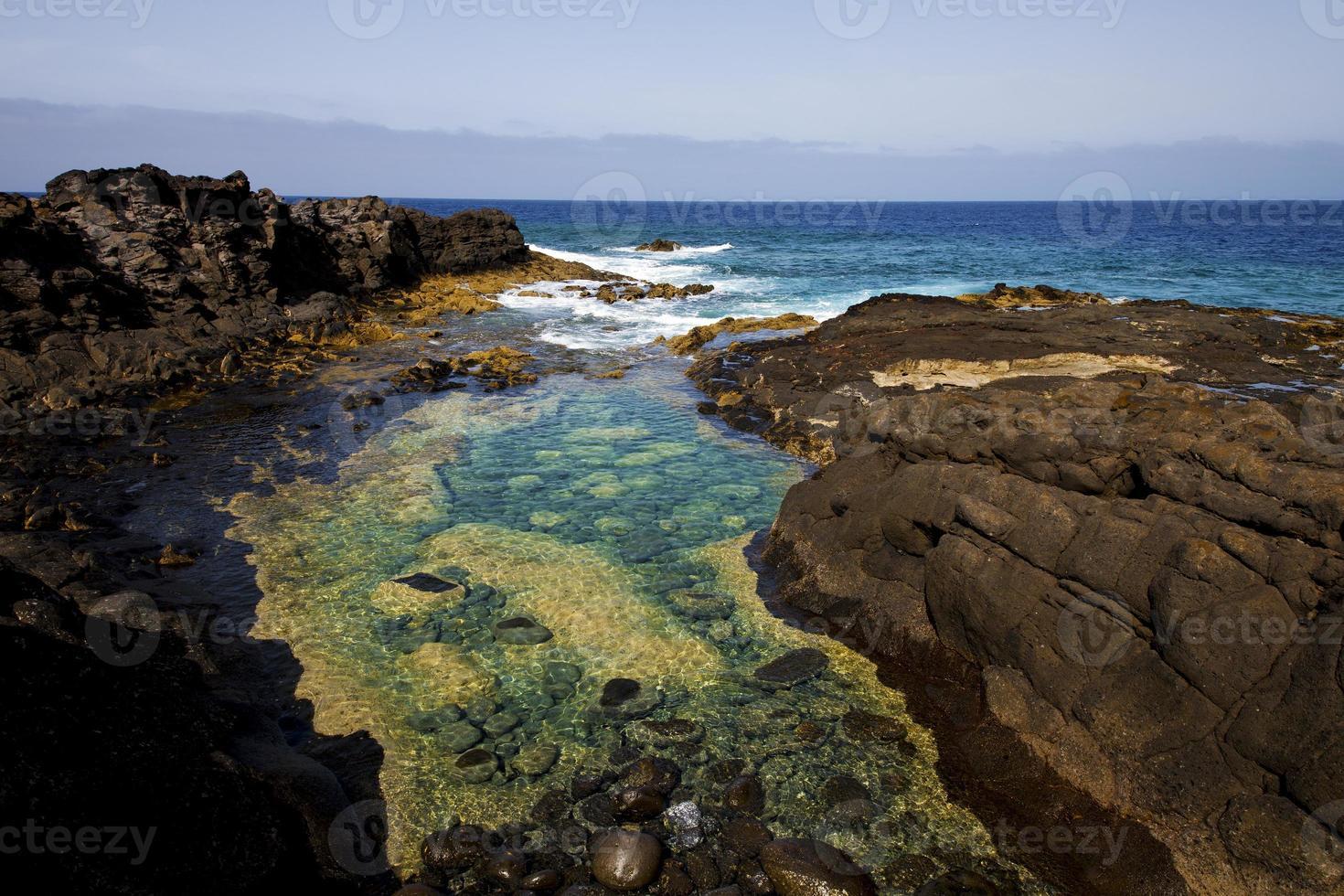 schuim kustlijn in Lanzarote Spanje foto