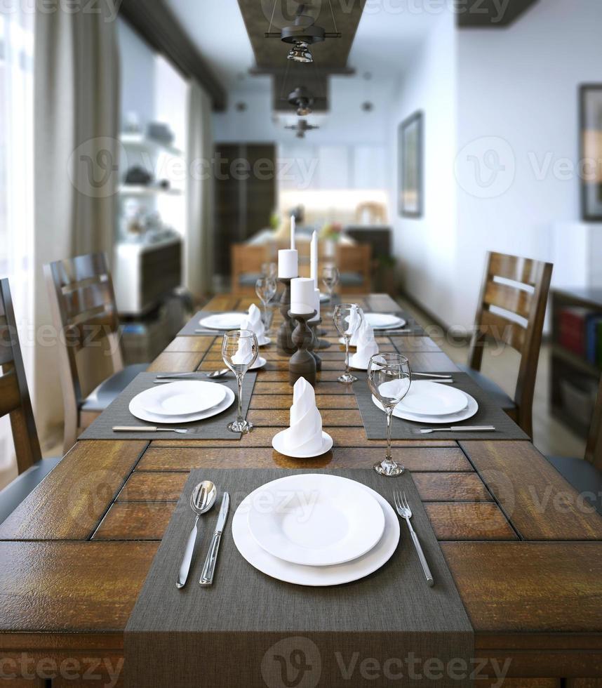 eetkamer, rustieke en moderne stijl foto