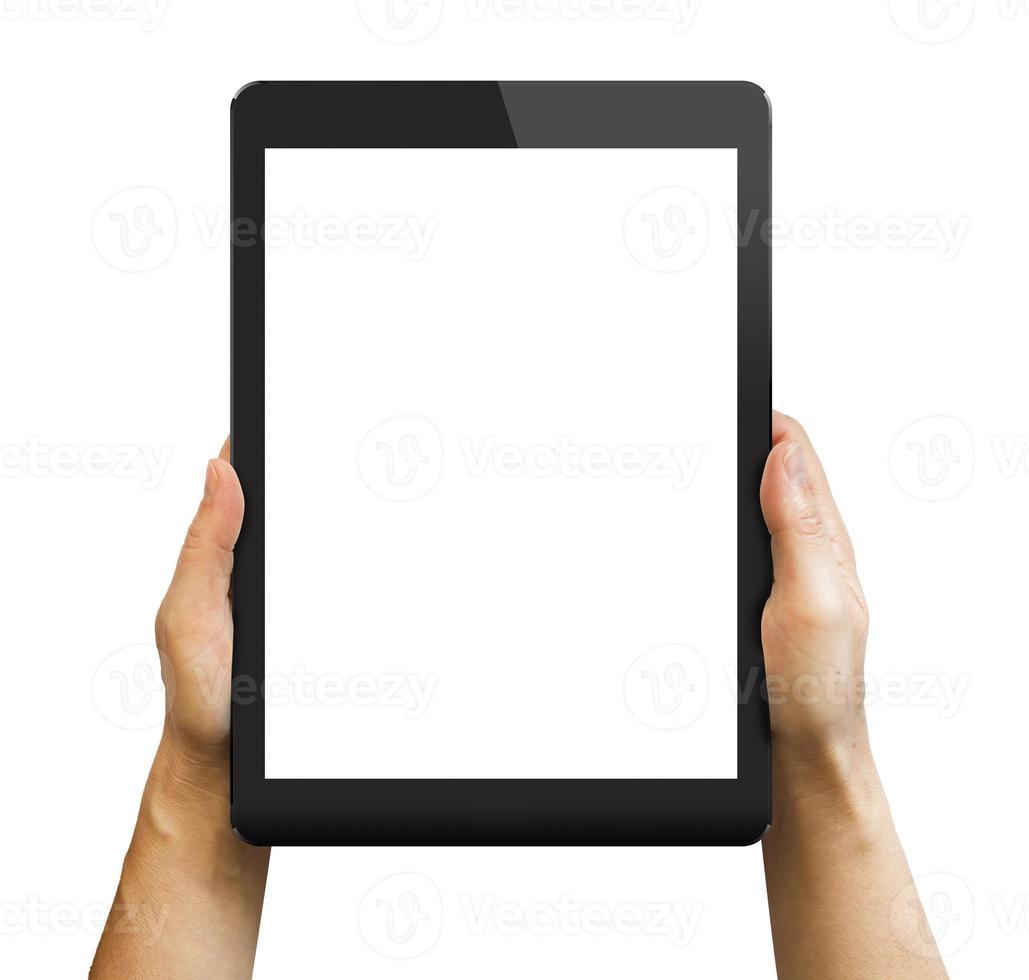zwarte tablet in handen van de vrouw op wit wordt geïsoleerd. foto