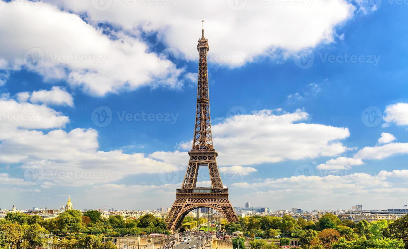 Eiffeltoren, de skyline van Parijs foto