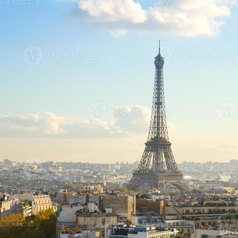 eiffeltour en parijs stadsgezicht foto