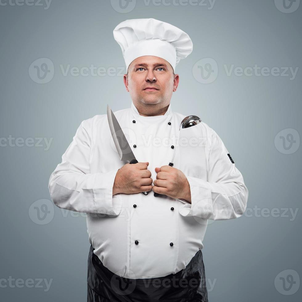 grappig chef-kokportret foto