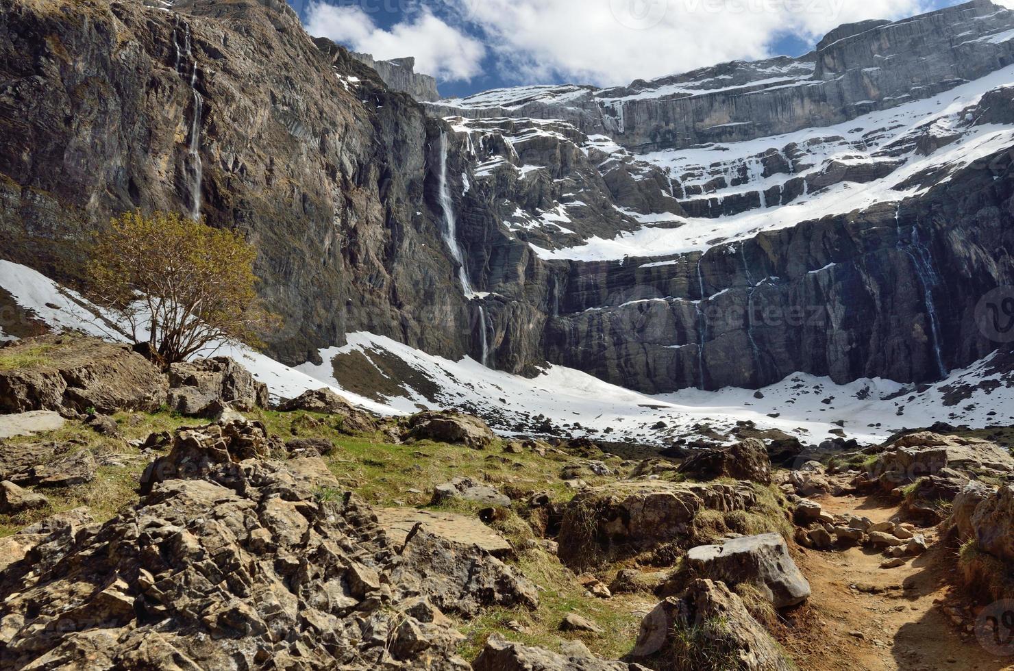 wandelpad naar het keteldal van gavarnie in de pyreneeën foto