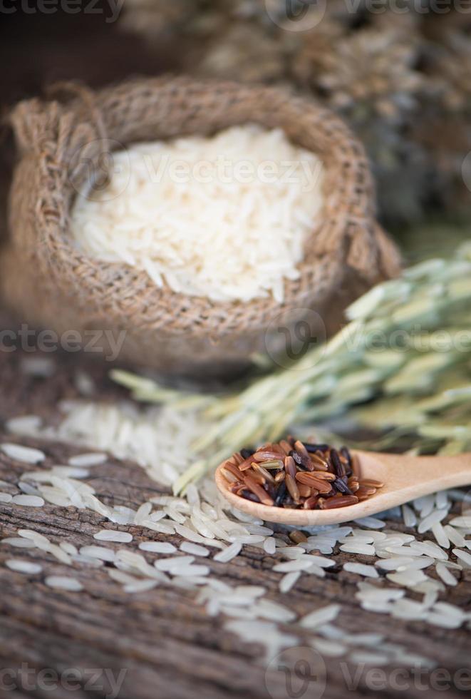 jasmijn bruine rijst op houten lepel foto
