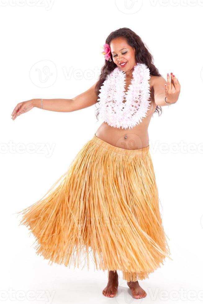 jonge hula danseres genietend van haar dans foto
