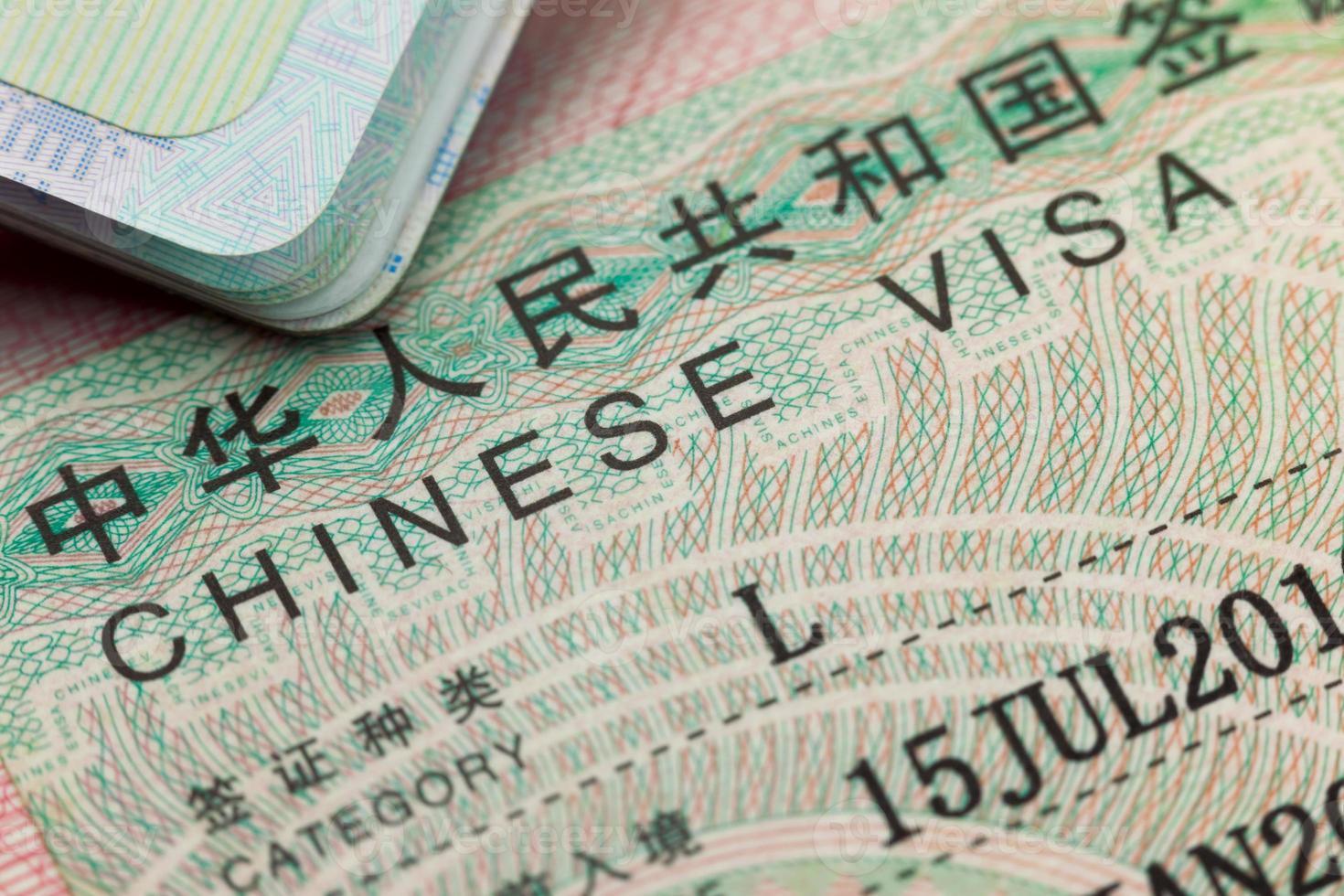Chinees visum in een paspoort - geniet van reizen foto