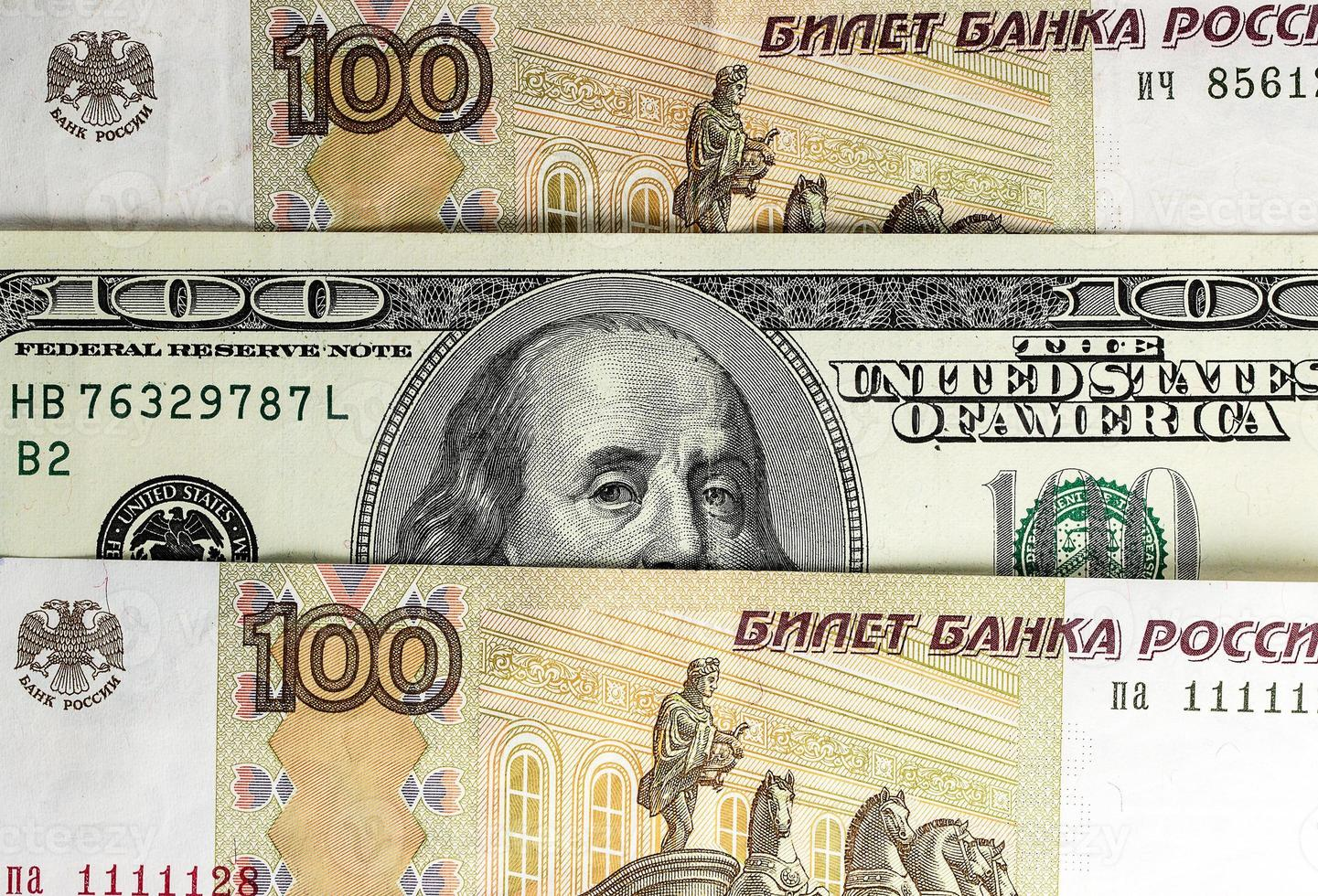 afbeelding van Russisch en Amerikaans geld foto