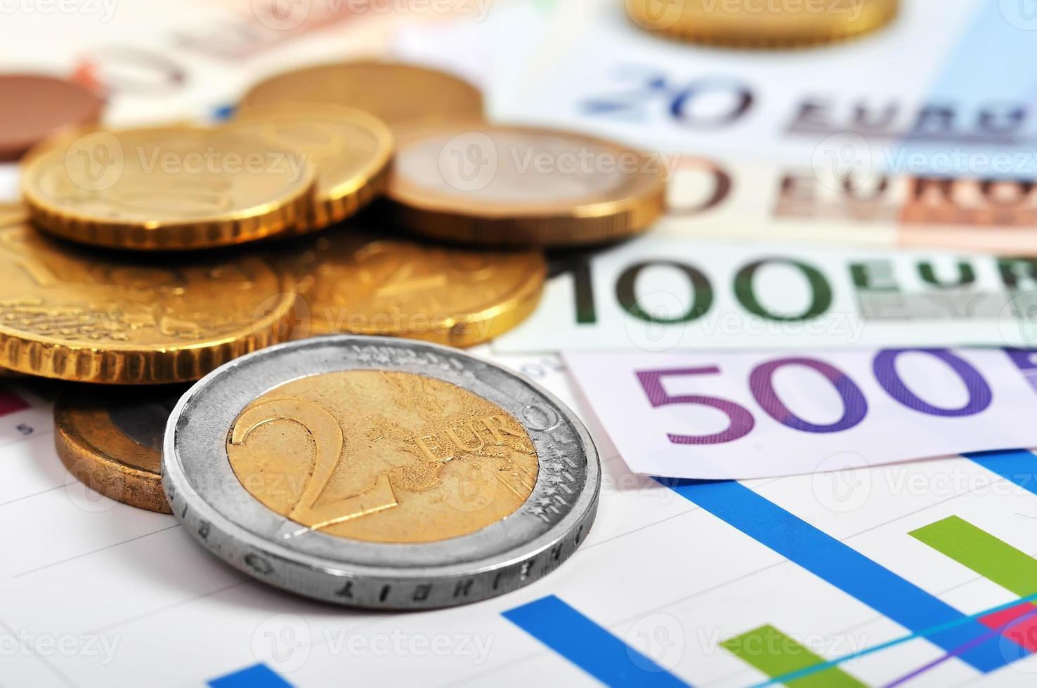euromunten en bankbiljetten foto