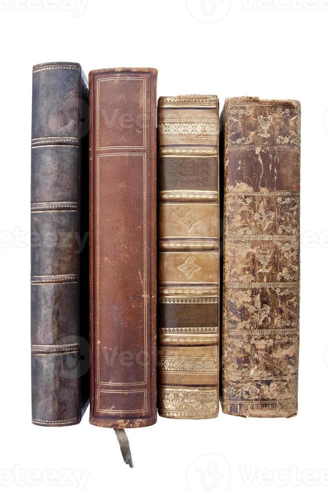 oude leren boeken foto