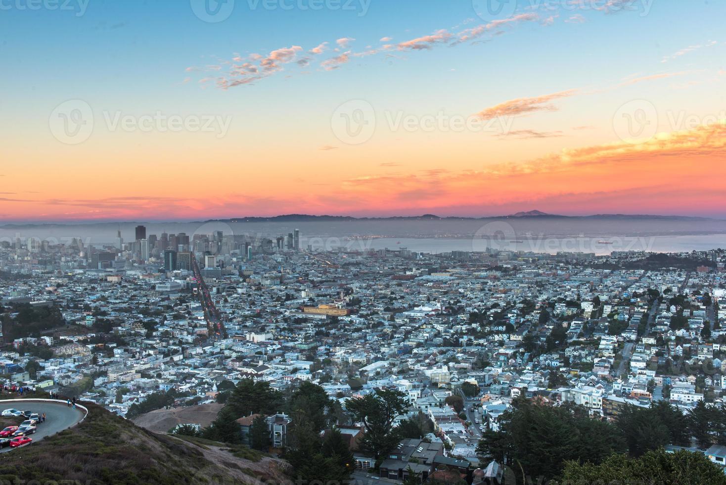 Twin Peaks en het centrum van San Francisco foto