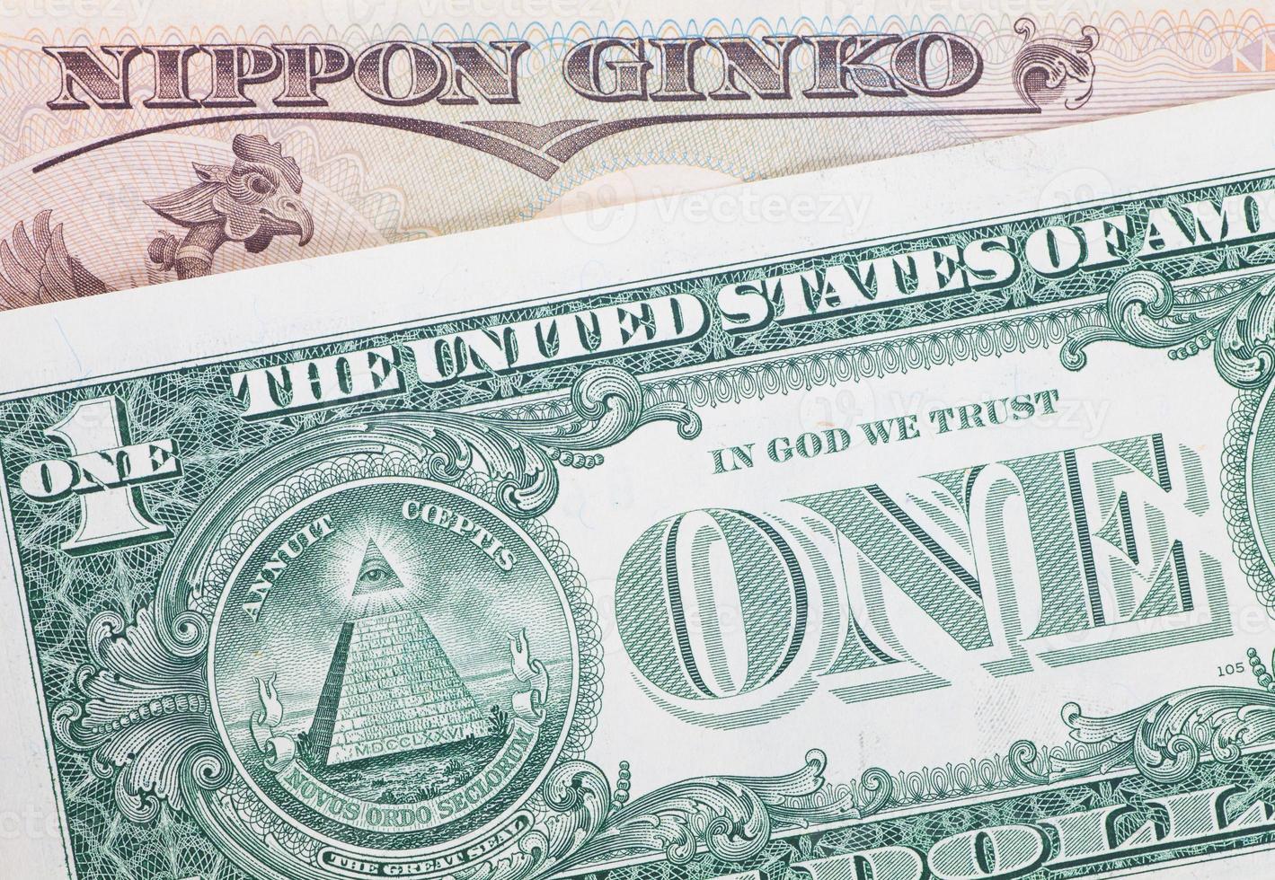 de dollar Japanse yen bankbiljetten voor zakelijke en financiële concept foto