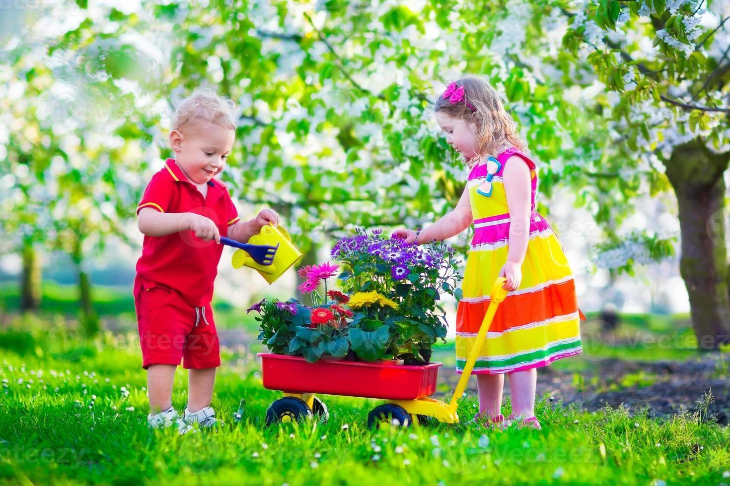 kinderen in een tuin met bloeiende kersenbomen foto
