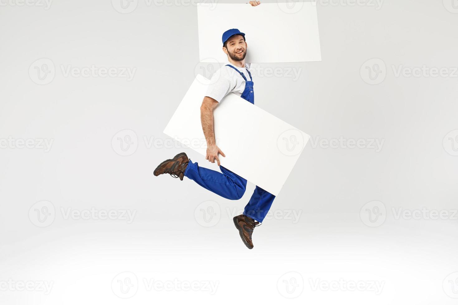 portret van een springende bouwer foto