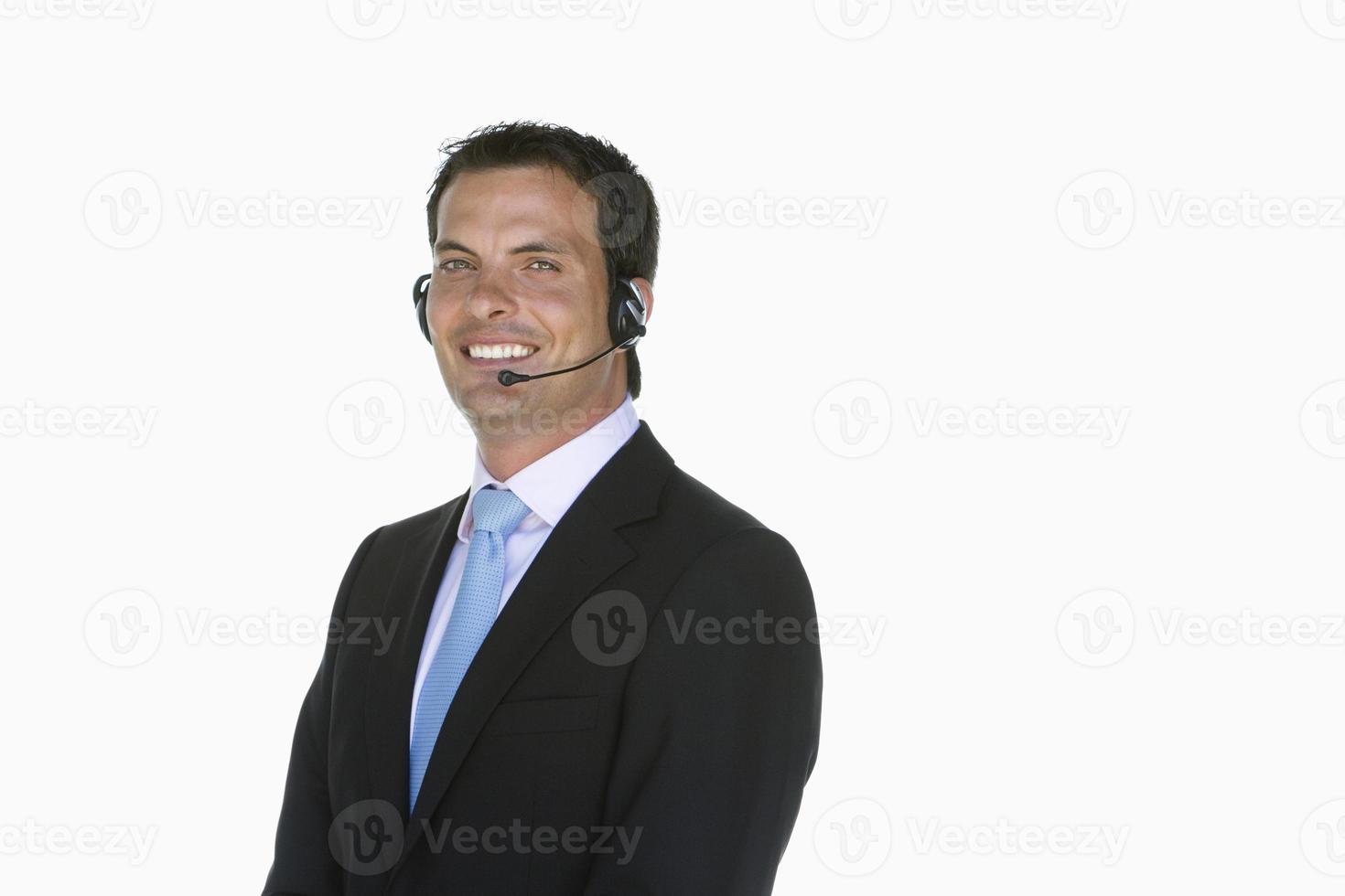 callcentermedewerker met hoofdtelefoon foto