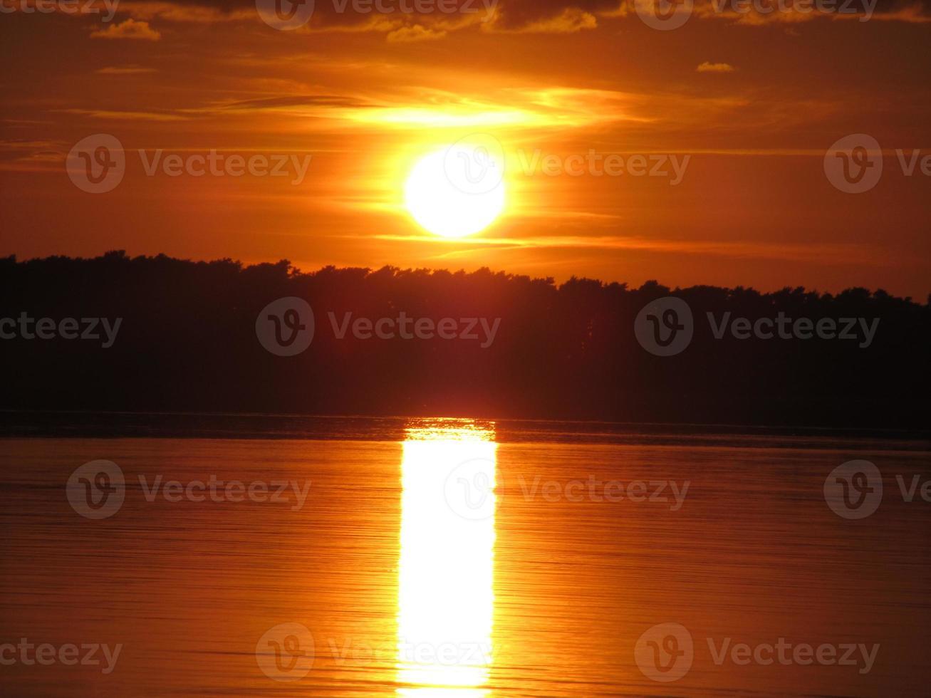 zonsondergang over water, Usedom en Baltische zee hemel brandt foto