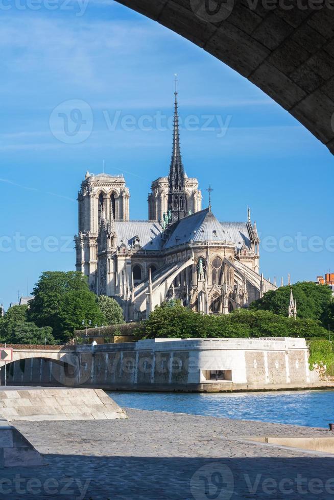 notre dame de paris, quai de montebello, paris, frankrijk foto