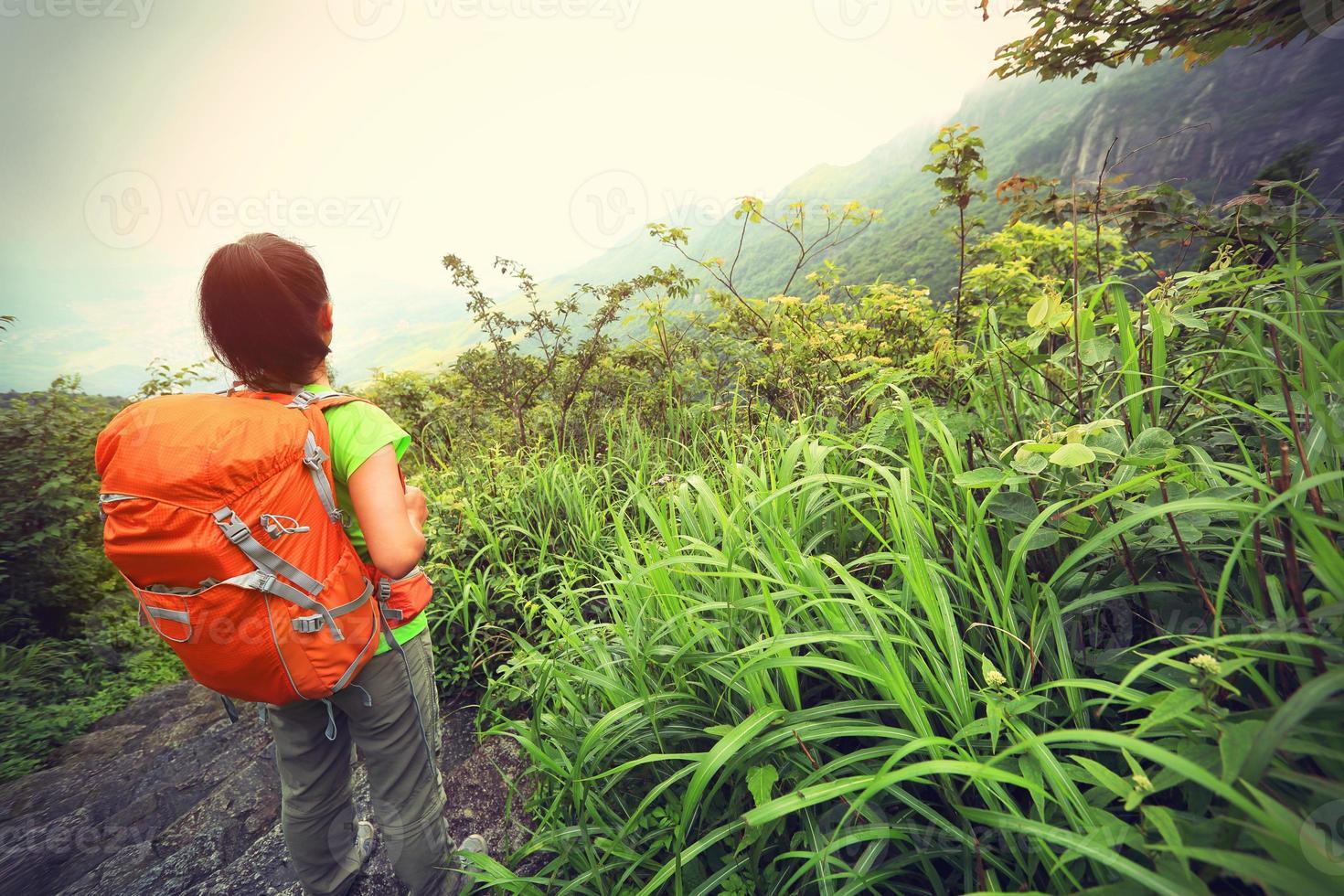 jonge vrouw wandelaar genieten van het prachtige landschap op de bergtop foto
