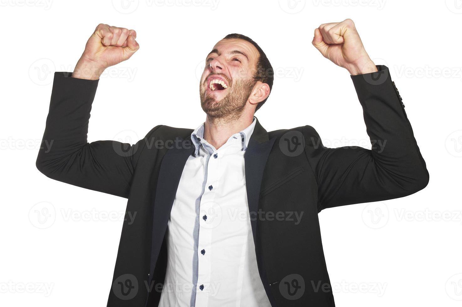 zakenman genieten van succes foto