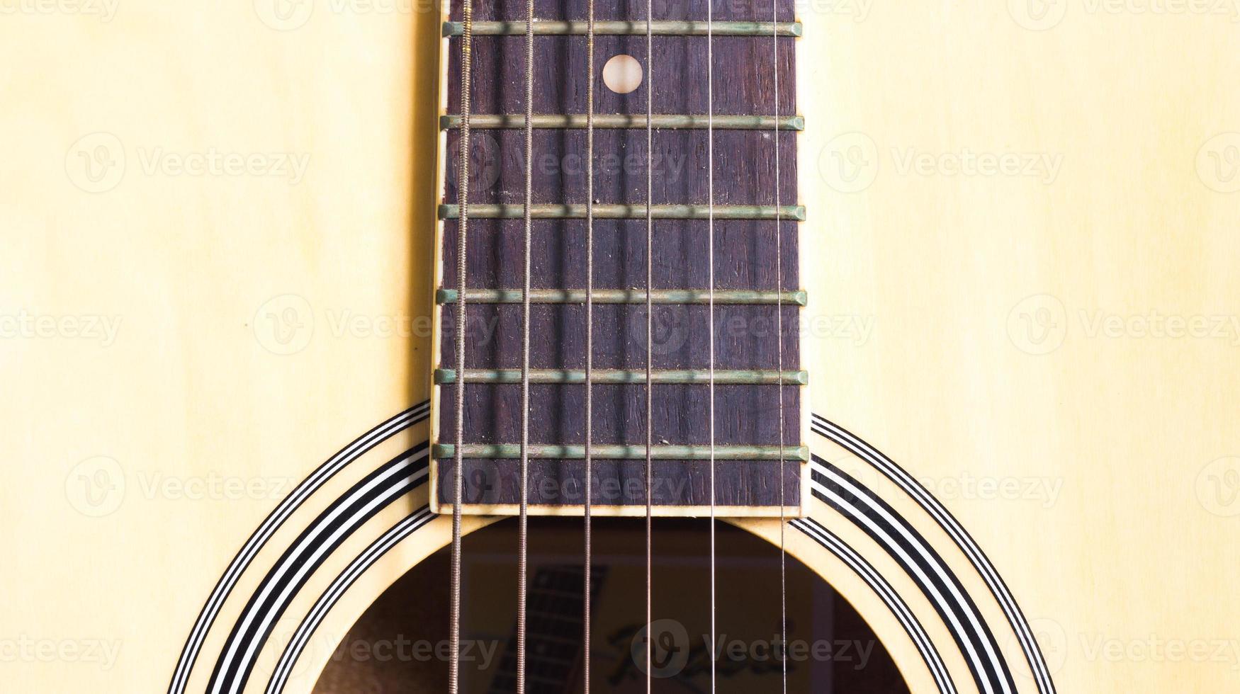 close-up snaar van de gitaar foto