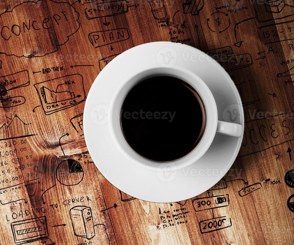 koffiekopje en tekening bedrijfsstrategie foto