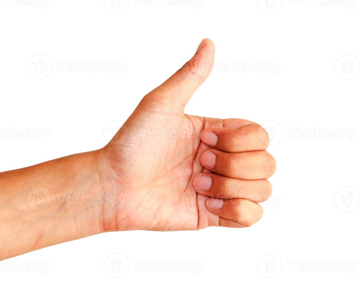 gebaar van de hand op witte achtergrond foto