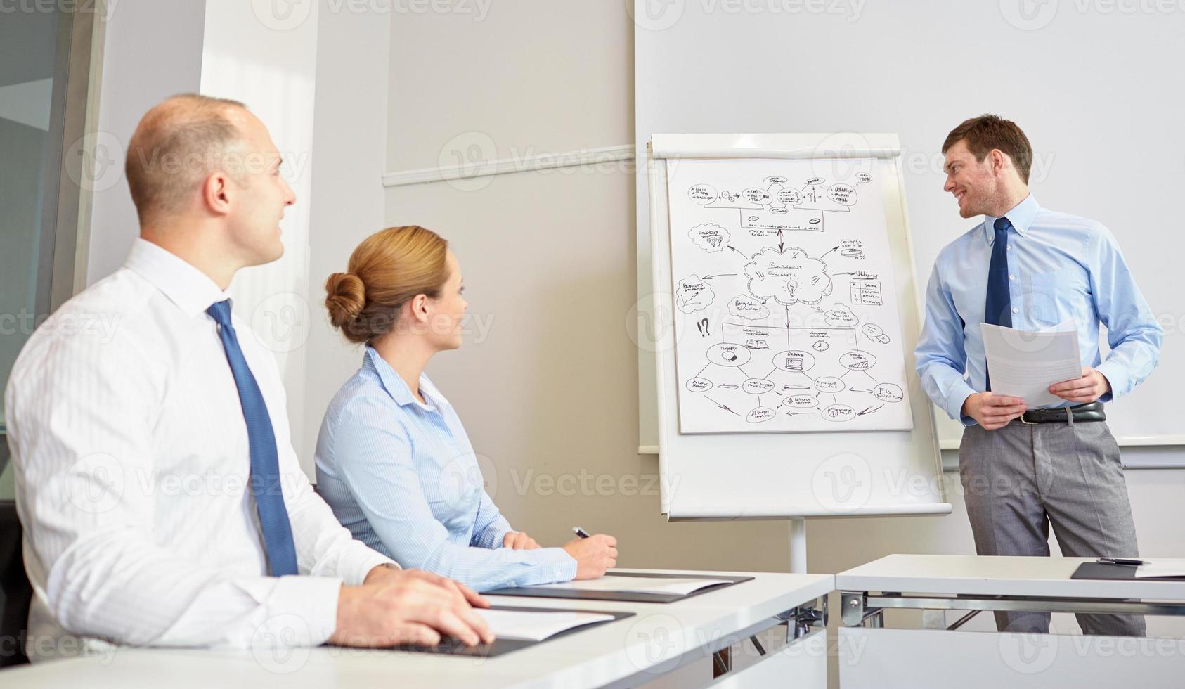 groep van glimlachende ondernemers bijeen in kantoor foto