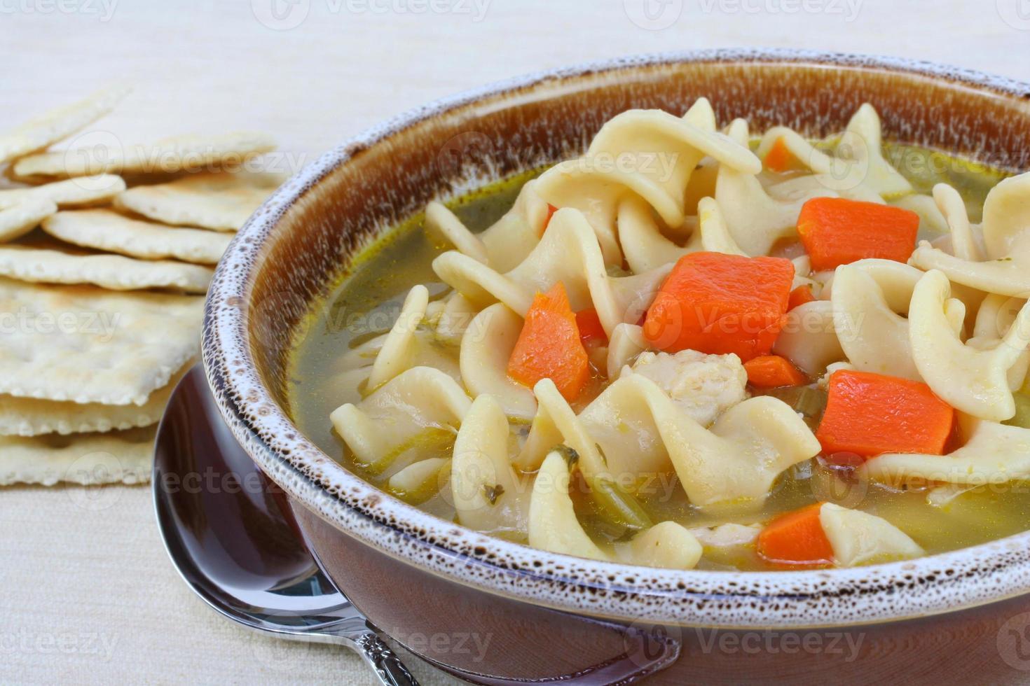 hartige kipnoedelsoep met wortelen foto