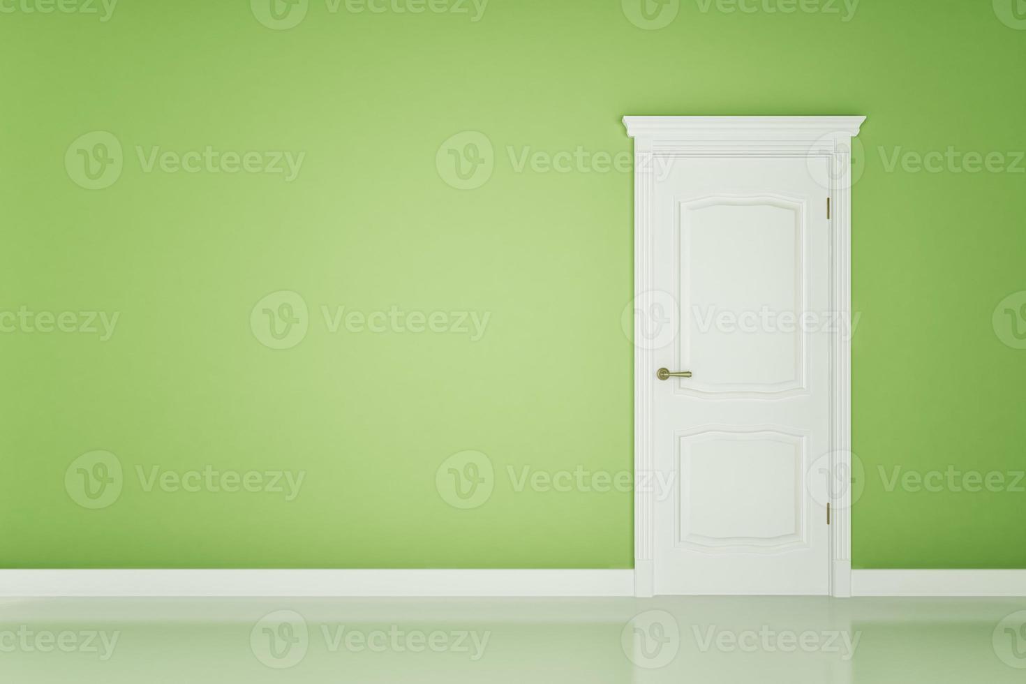 gesloten witte deur op groene muur foto