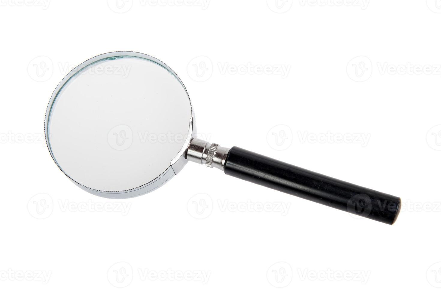vergrootglas dat op een wit wordt geïsoleerd foto